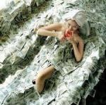 bathing in cash while indulging in wine... that's just germy... all those germs on the money... BLAH! Yucky...